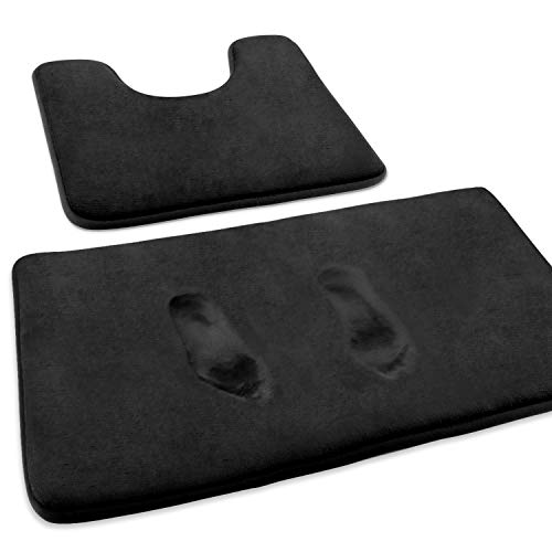 FEELSO Memory Foam Bath Mat Set, Extra Soft 2 Piece Bathroom Rugs Non Slip and Absorbent Mats, 20x31 Inches Floor Mat, 20x20 Inches U-Shaped Contour Rug for Tub Shower & Bath Room (Black)