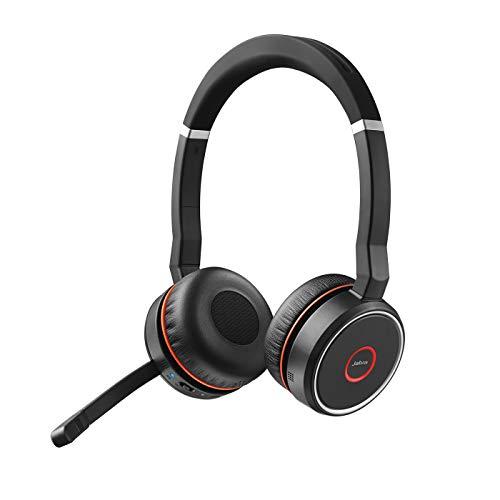 Jabra Evolve 75 - Auriculares Inalámbricos Estéreo Optimizados para Comunicaciones Unificadas con Batería de Larga Duración, para PC, Smartphones y Tabletas, Negro
