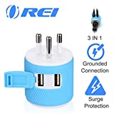 Thailand Travel Plug Adapter by Orei with Dual USB - USA Input + Surge...