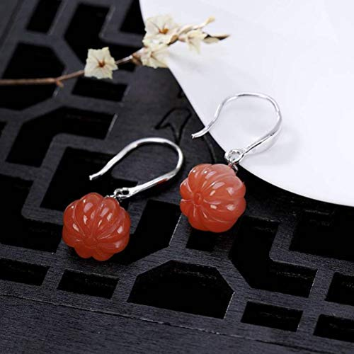 WOZUIMEI Chinese Style Earrings Eardrop S925 Sterling Silver Natural Retro South Red Agate Personality Pumpkin Simple Matching All Female Earrings As Shown