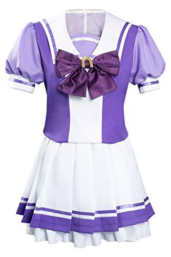 Zhinina Uma Musume Pretty Derby Cosplay Kostüm Frauen Japanische Schuluniform Kurzarm Matrosen Anzug Outfits Kleid Lila Gr. X-Small, violett