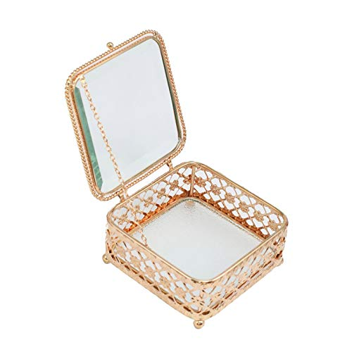 æ— Caja de joyería dorada vintage, caja de almacenamiento de joyas, organizador para collares, pendientes, pulseras, anillos, accesorios, regalo para mujeres y niñas