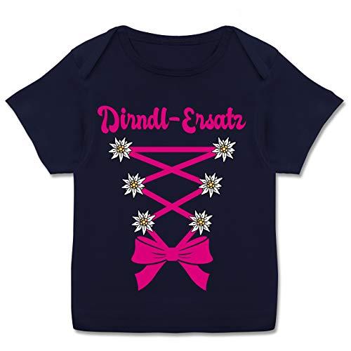 Oktoberfest & Wiesn Baby - Dirndl-Ersatz Korsage - Fuchsia - 80-86 - Navy Blau - T-Shirt - E110B - Kurzarm Baby-Shirt für Jungen und Mädchen