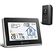 DIGOO Weather Stations Wireless Indoor Outdoor Thermometer Digital Hygrometer with Wireless Sensor, Temperature and Humidity Monitor, Weather Forecast Icon, Time & Date, Backlight (Black)
