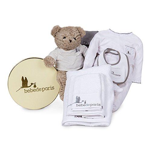 Canastilla regalo bebé en Caja Vintage Spa Esencial de BebeDeParis-Gris- set regalo para recién nacido