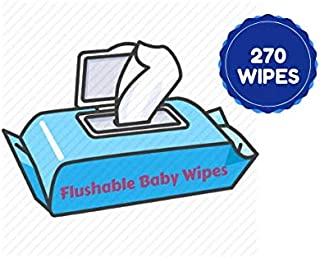 Flushable Soft Gentle Fresh Hypoallergenic Baby Wipes 270 Alcohol Free Wipes