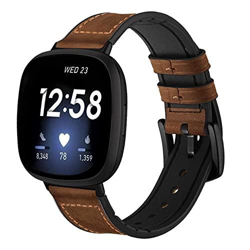 YOOSIDE Leder Armband für Fitbit Versa 3 / Sense, Echtleder+Silikon Ersatzarmband Herren Uhrenarmband mit Edelstahlverschluss für Fitbit Sense, Braun
