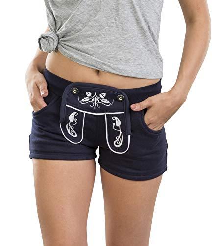 Damen WiesnFit Jogging Lederhose MADL - Jogginghose Trachten Hotpants (XXL, Blau)