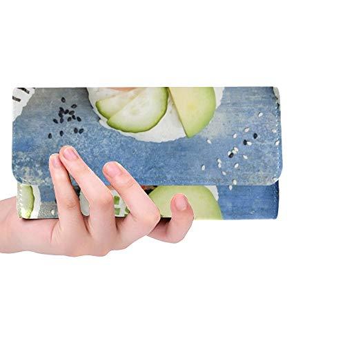 Ciambelle di sushi vegane personalizzate uniche set borsa da donna con porta carte di credito a portafoglio lunga con portafogli a zenzero in salamoia