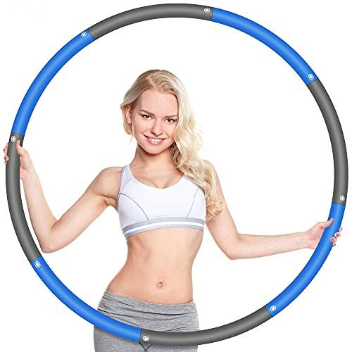 Wanap Fitness Reifen Hoop Erwachsene 1 kg, 8 Teile Breit 95cm Reifen Hoop Kinder Anfänger, Perfekt Edelstahl Fitnesshoop Fitness Hoop mit Mini Bandmaß (Grau Blau)