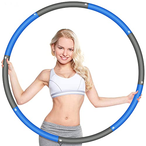 Wanap Weighted Fitness Hoop 2.2lb, 8 Section Exercise Hoop for Adults Weight Loss 37.4in, Perfect Stainless Steel Weighted Hoops for Exercise with Mini Tape Measure (Gray Blue)