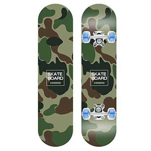 DecorationPaper Standard Cruising Skateboards, Beginner Skateboard, Complete Skateboard for Teenagers, Maple Double Kick Deck concave Cruiser Stunt Skateboard, Green Camouflage, 6x24IN