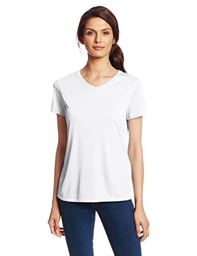 Hanes Sport Women's Cool DRI Performance V-Neck Tee,White,XX-Large