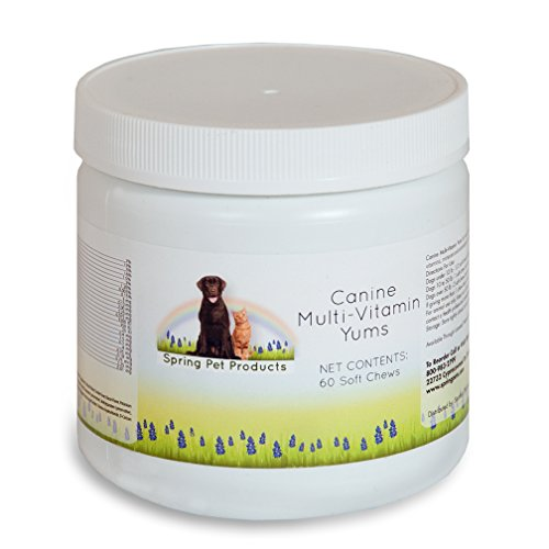 Spring Pet Dog Multi Vitamins & Supplements for Dogs 60 Count - Puppy, Senior, Agility, Working Canines Soft Chewable Tabs - Minerals Plus Vitamin E -Skin & Coat - Veterinarians Choice Made in USA
