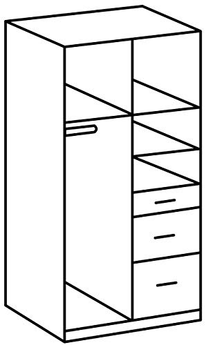 Wimex Kleiderschrank/ Drehtürenschrank Click, 2 Türen, 2 große, 1 kleine Schublade, 1 Spiegel, (B/H/T) 90 x 199 x 58 cm, Weiß/ Absetzung Anthrazit