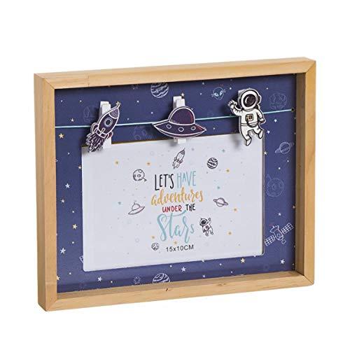 Vidal Regalos Marco de Fotos Pared 15 x 10 cm Portafotos Infantil Niño Niña Azul Espacio Astronauta 22 cm