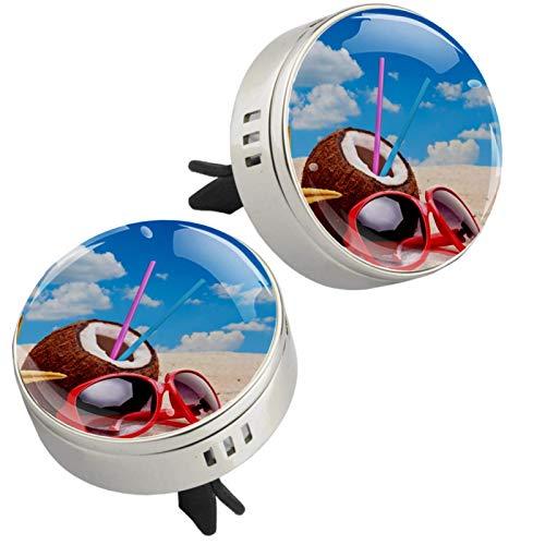 Z&Q Difusor de aromaterapia para Coche Jugo de Coco ambientador con Clip de ventilación y Almohadillas de Recambio para el Interior del Coche 2 Unidades 33.8mmX46.4mm