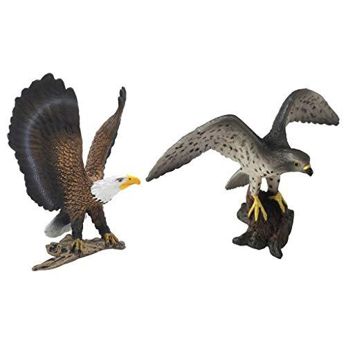 F Fityle 2 Unids Modelo Animal Realista Estatua de Pájaro Figuras de Animales de Juguete para Niños - Halcón peregrino+Águila