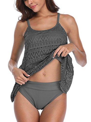 Flyily Tankini-Set für Damen, 2-teilig, Bademode, Strandbekleidung, formt den Bauchbereich, in 6Farben, in großen Plus-Größen Gr. XXX-Large, grau