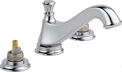 Delta 3595LF-MPU-LHP Cassidy Two Handle Low-Arc Widespread Bathroom Faucet with Metal Pop-Up Drain and without Handles, Chrome