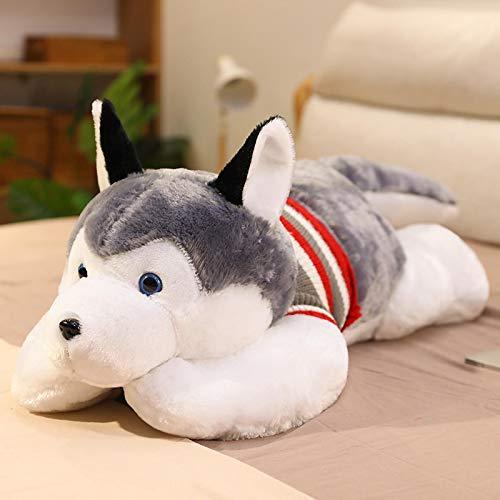 Perro Husky de Peluche de Juguete Lindo Perro Animal Almohada Cama cojín para Dormir Regalo de cumpleaños para niños 50 cm / 19,7 Pulgadas Husky