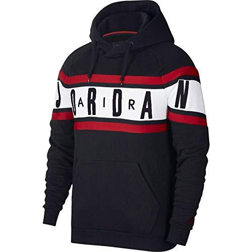 Nike M J Air Jordan FLC Po Long Sleeve Top für Herren L schwarz/schwarz/weiß/rot