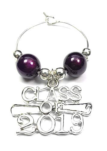 Libby's Market Place Class of 2019 Graduation Wine Glass Charm on a Gift Card and Graduation Gift Card