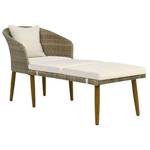 vidaXL Chaiselongue Poly Rattan Gartenliege Sofa Lounge Gartenmöbel Relaxliege