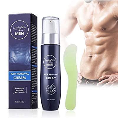 Hair Removal Cream for Men, Luckyfine Extra Gentle Hair Removal Cream for Sensitive Areas, Powerful Formula and No Odor Used on Bikini, Underarm, Chest, Back, Legs and Arms for Men