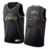 FGRGH No.23 LèBróń Jámès Jersey para Hombres Mujeres Jóvenes, Lákèr Little Emperor Men's Basketball Jerseys Shirt, Black Gold Edition Embroidered Jersey S