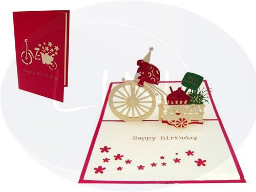 LIN-POP UP Grußkarten zum Geburtstag, Geburtstagskarten Grußkarten Glückwunschkarten, Fahrrad Schildkröte