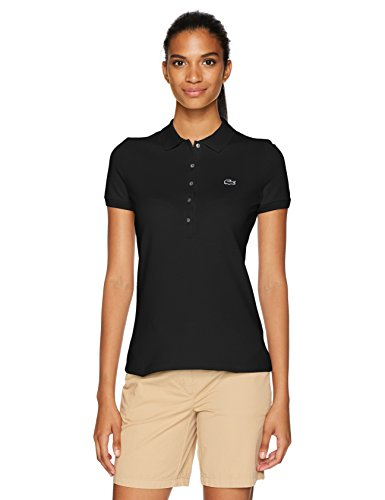 Lacoste Damen Classic Short Sleeve Slim FIT Stretch Pique Polo Poloshirt, schwarz, 30