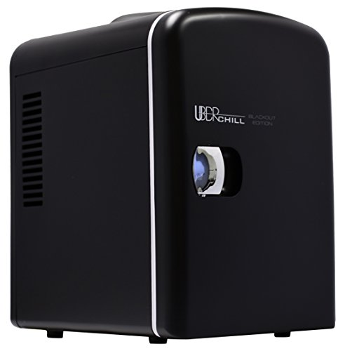 Uber Appliance UB, CH1 Uber Chill Mini Fridge 6, can portable Thermoelectric Cooler and Warmer Mini Fridge for Bedroom, Office or Dorm, Blackout Matte Black with Blue LED Fan