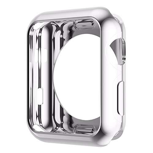 LLMXFC Funda de Silicona Suave Original para Apple Watch Series 3 Serie 3 Serie 2 Cubierta de protección de TPU chapada en Oro 42mm 38mm (Color : Silver, Dial Diameter : 38mm Series 2 3)