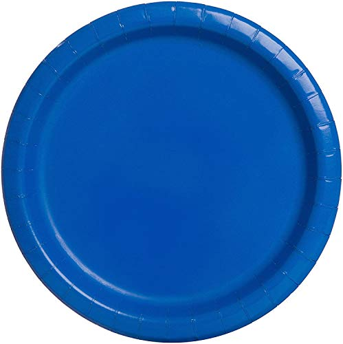 Bright Royal Blue Paper Plate Big Party Pack, 50 Ct