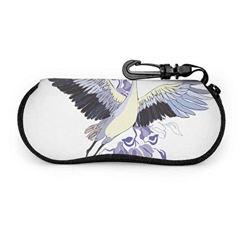 Estuche de gafas con mosquetón Elemento de diseño de vuelo de pájaro de grúa Gafas de sol con cremallera de neopreno portátil ultraligero Estuche blando - Se adapta a la mayoría de las gafas