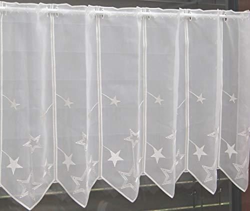 Scheibengardine nach Maß edel bestickt mit Sternen in weiß - Höhe 30 cm - Breite der Gardine durch Stückzahl in 32 cm Schritten wählbar - Weihnachtsgardine Stern Bistro mit Spitze Fensterbild Weihnachten Sterne Typ302