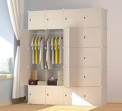 PREMAG Armoire Penderie Portable Cubes de Stockage Motif en Bois modulaire en Plastique en métal cintres vêtements, Accessoires, Jouets