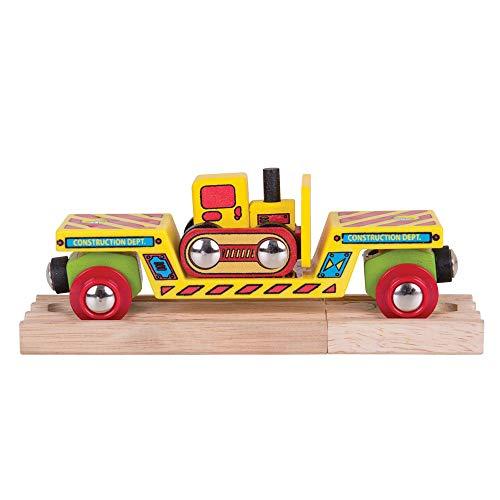 Bigjigs Rail Wagon à Plancher surbaissé pour Bulldozer