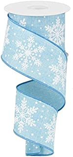 Glittered Snowflakes On Royal Baby Blue Ribbon (2.5 Inch x 10 Yards)