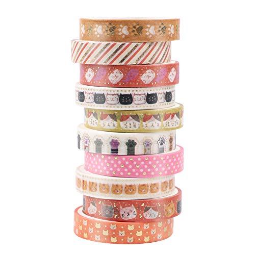 Juego de 10 rollos de cinta Washi, cinta adhesiva decorativa para gatos y perros, para manualidades, manualidades, regalos, decoración de vacaciones, suministros de fiesta