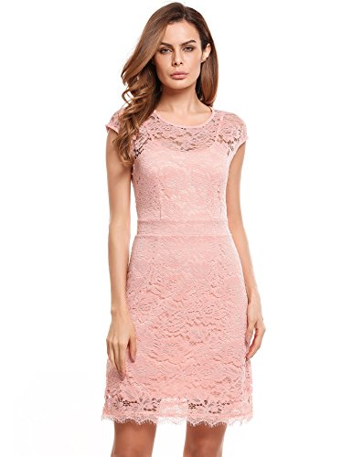 Meaneor Elegante kanten jurk mini zomerjurk feestjurk avondjurk met spaghettibandjes