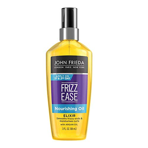 John Frieda Frizz Ease Nourishing Elixir Oil, 3 Ounces, Healthy Moisture for Unmanageable Hair, Infused with Argan Oil, Heat Protectant