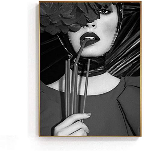 Lienzo De Impresión 60x90cm Sin Marco Pretty Biting Lips Girl HD Blanco y negro sexy para decoracion de la sala de estar