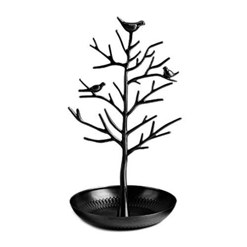 Soporte de joyería Display Hanger Tower Metal Tree Collar Pendientes Holder Organizador Rack (negro)