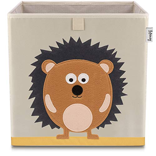 Lifeney Kinder Aufbewahrungsbox I praktische Aufbewahrungsbox für jedes Kinderzimmer I Kinder Spielkiste I Niedliche Spielzeugbox I Korb zur Aufbewahrung von Kinder Spielsachen (Igel hell)