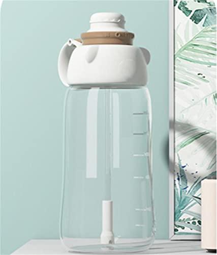 Botella de Agua Deportiva Botella de Agua Al Aire Libre con Paja PláStico PortáTil Para NiñA Jugo Lindo Té Taza Agua Botella Bicicleta blanco