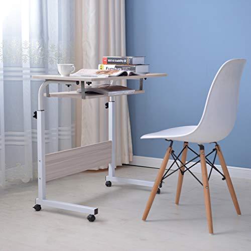 Tponi Folding Laptop Desk, Height Adjustable Home Office Desk with Wheels, Mobile Standing Desk with Dual Surface for Home Office, Adjustable Laptop Desk, Sofa Table, Mobile Bedside Table White Maple