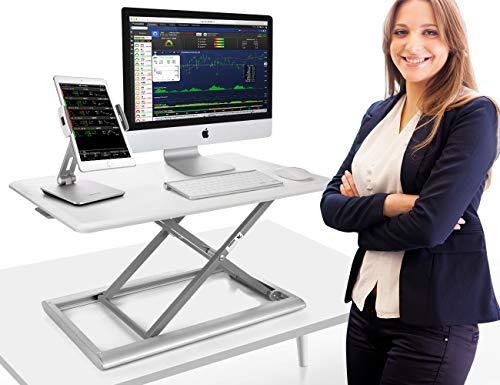 Adjustable Standing Desk Converter, AboveTEK Compact Solid Aluminum Computer Riser, 30' Desktop Platform w/Smooth Air Assist at Home Office (White)