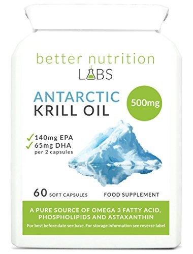 Antarctic Krill Oil (Antarktisches Krillöl) 500mg reines Superba Krillöl pro Kapsel - reich an EPA und DHA Omega-3-Fettsäuren und enthält außerdem Astaxanthin